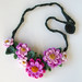 Crochet Pink Flowers Necklace