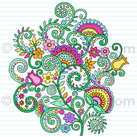 Notebook Doodle Rainbow Vines and Flowers by blue67design | by blue67design