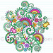 Notebook Doodle Rainbow Vines and Flowers by blue67design