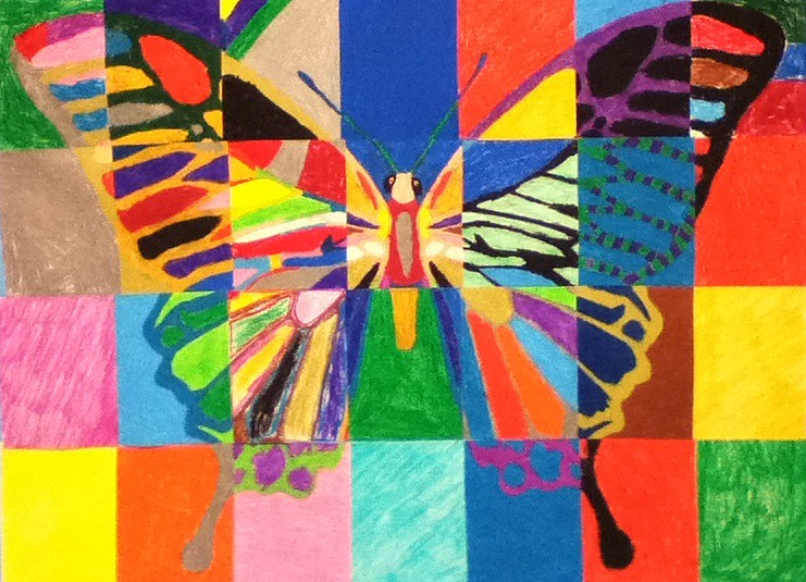 Butterfly mural melissa from student age child care a for Butterfly mural ideas
