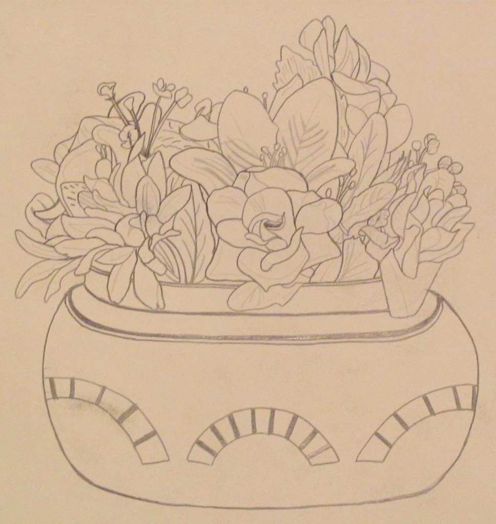 Contour Line Drawing Of A Flower : Flower pot my contour line drawing of a