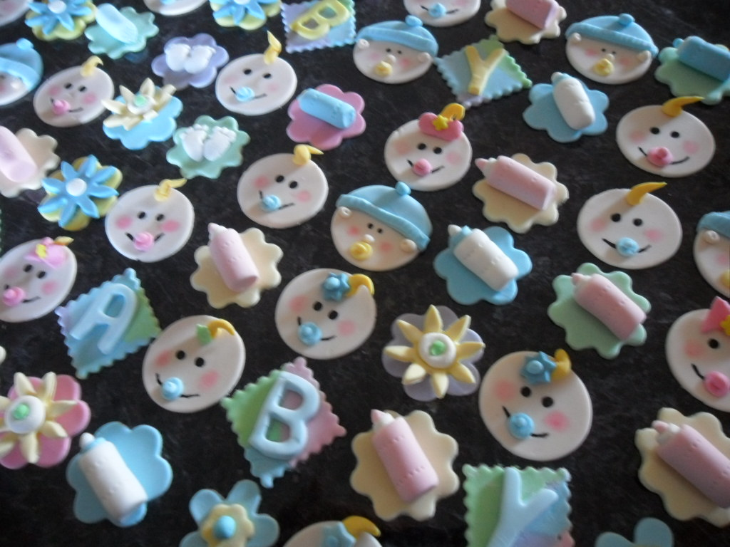 Baby shower fondant toppers 94 x baby shower handmade for Baby shower cupcake decoration