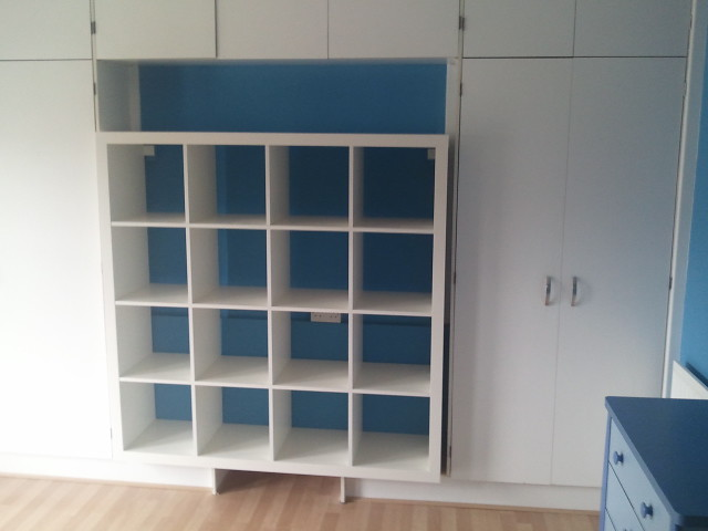 fitted cupboards and those ikea shelves marc e marc flickr. Black Bedroom Furniture Sets. Home Design Ideas