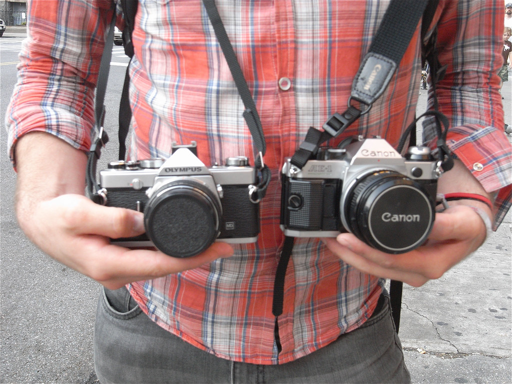 Olympus OM-1 MD and Canon AE-1