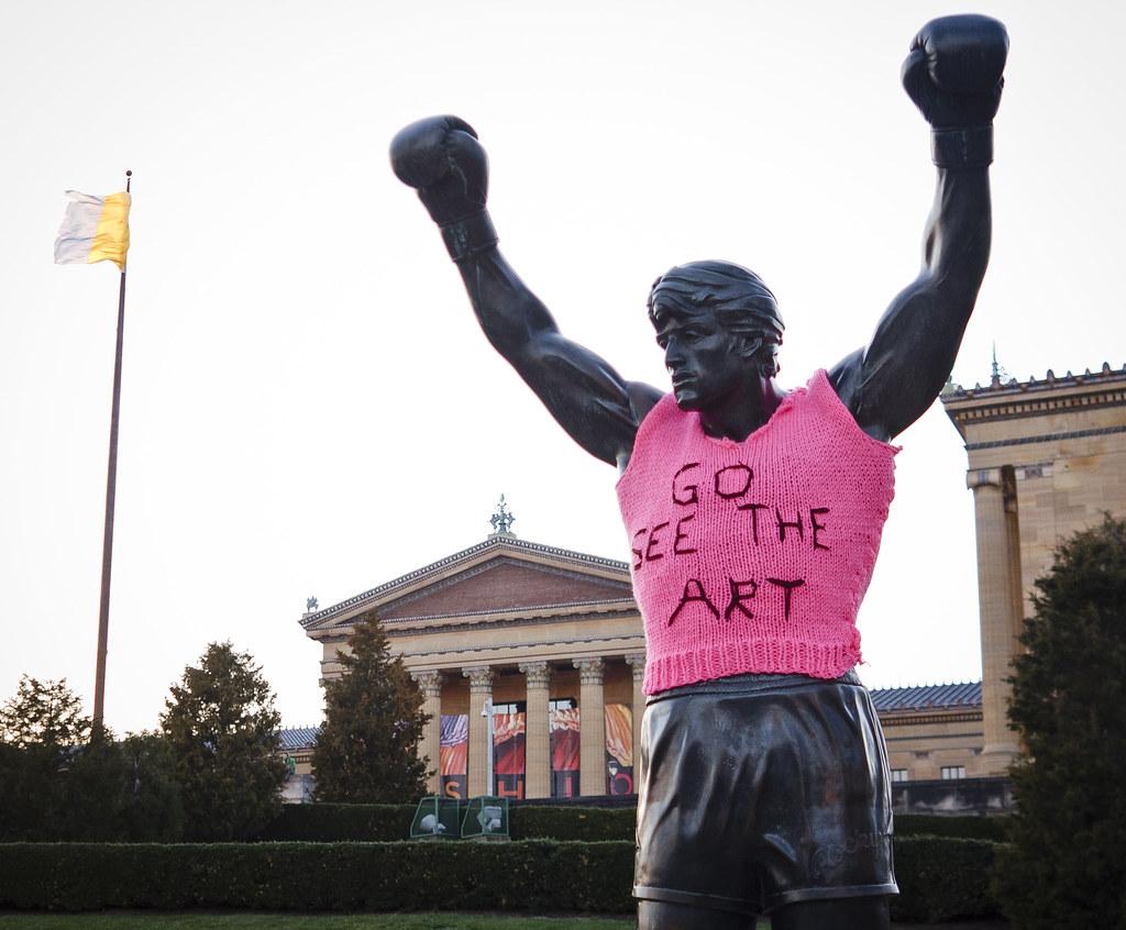 yarn bomb of Rocky statue