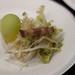Honeydew Melon Salad: honeydew melon, honeydew geleé, friseé candied walnut dust, bacon vinaigrette