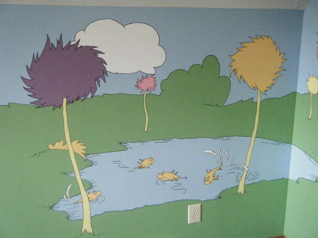North wall nursery mural lorax dr seuss truffula for Dr seuss nursery mural