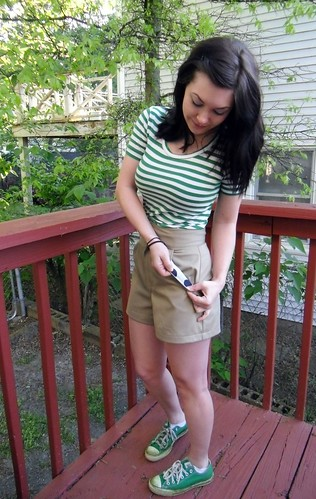 Khaki Shorts & Green Striped Renfrew | by lladybird