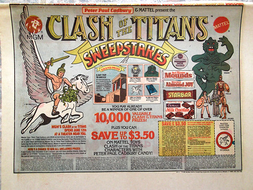 1981 Peter Paul Cadbury Mattel Clash of the Titans Sweepstakes Newspaper Ad Mounds Almond Joy Starbar | by gregg_koenig