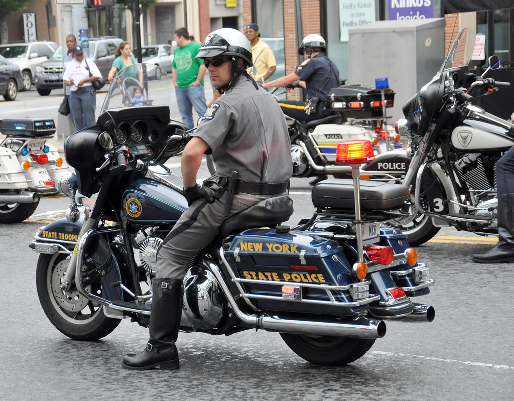 Picture Of New York State Trooper On Motorcycle In Annual