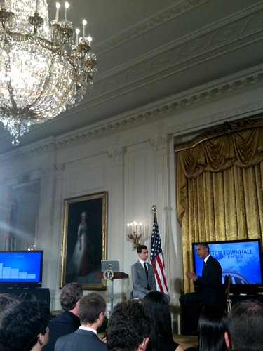 Watching @BarackObama field @Twitter questions via @Jack at @TownHall #AskObama | by TechCocktail