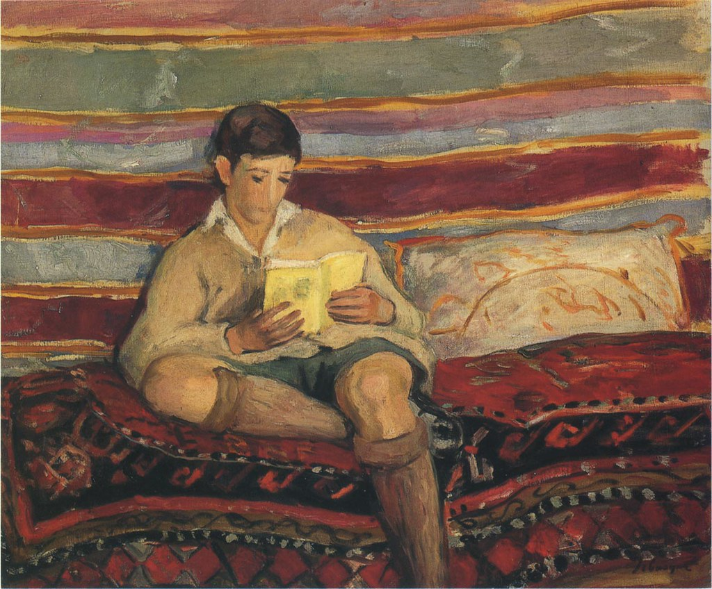 Lebasque henri french 1865 1937 young boy reading for Garcon french to english