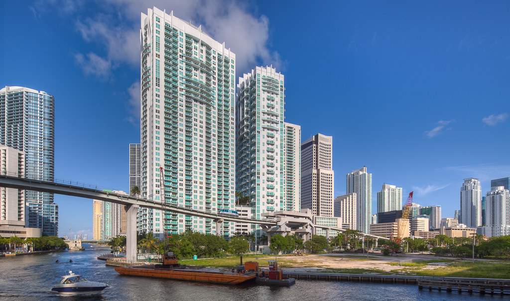 Brickell Skyline From The Miami River Miami Florida