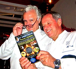Ducasse and Puck examine Jay's newsletter about Bel Air | by jayweston@sbcglobal.net