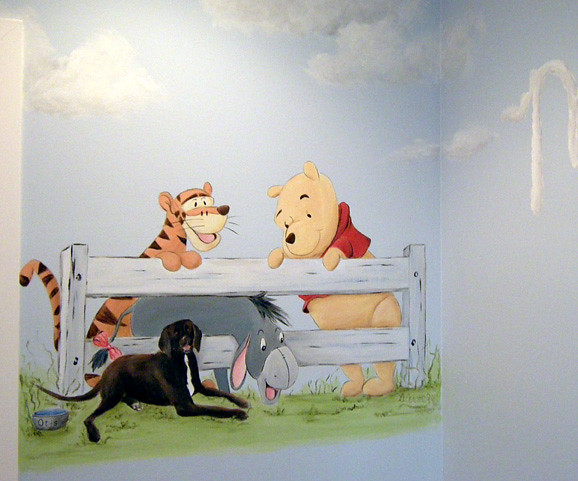 Winnie the pooh nursery mural family dog painting flickr for Classic pooh nursery mural