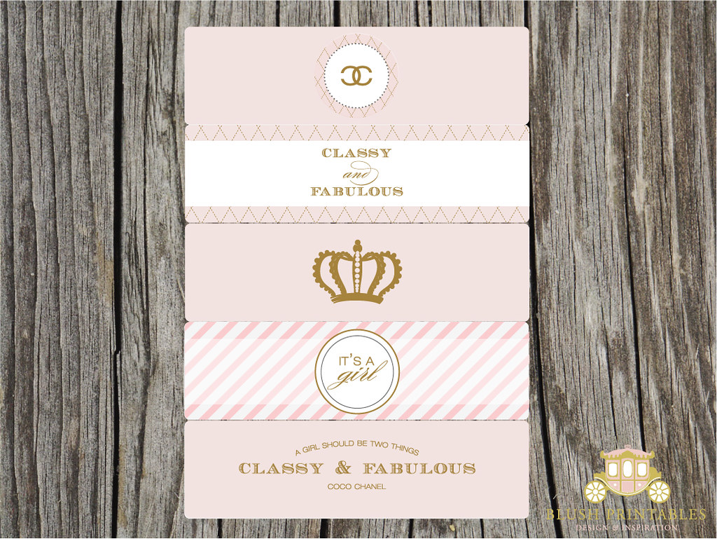 Coco Chanel Themed Water Bottle Labels 15 Compatible