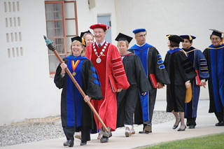 Faculty and President Richard Rush arriving at the Honors Convocation held in the Broome Library Plaza | by California State University Channel Islands
