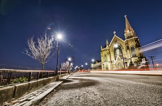 Light trails in front of St. Mary on the Mount - HDR | by Dave DiCello