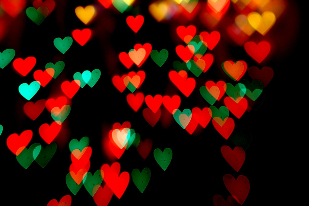 Merry christmas heart bokeh colorful shaped out of