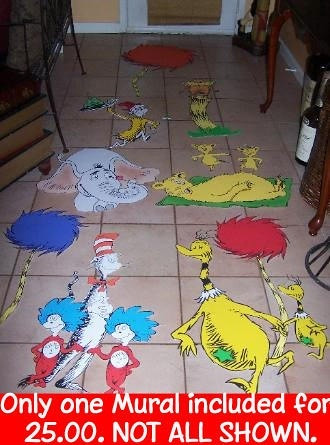 Dr seuss wall art murals for Dr seuss wall mural