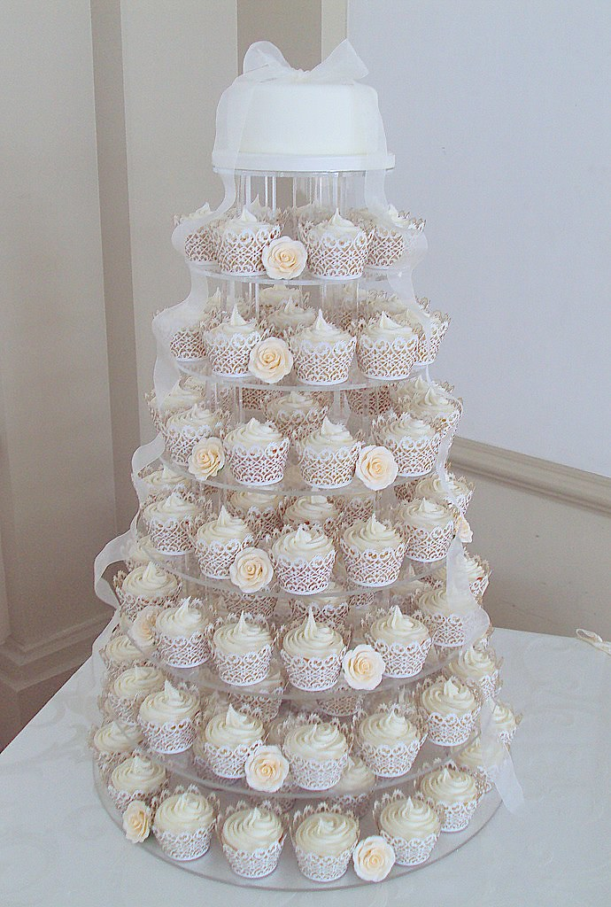 Ivory Rose Wedding Cupcake Tower Hodsock Priory Heavenly