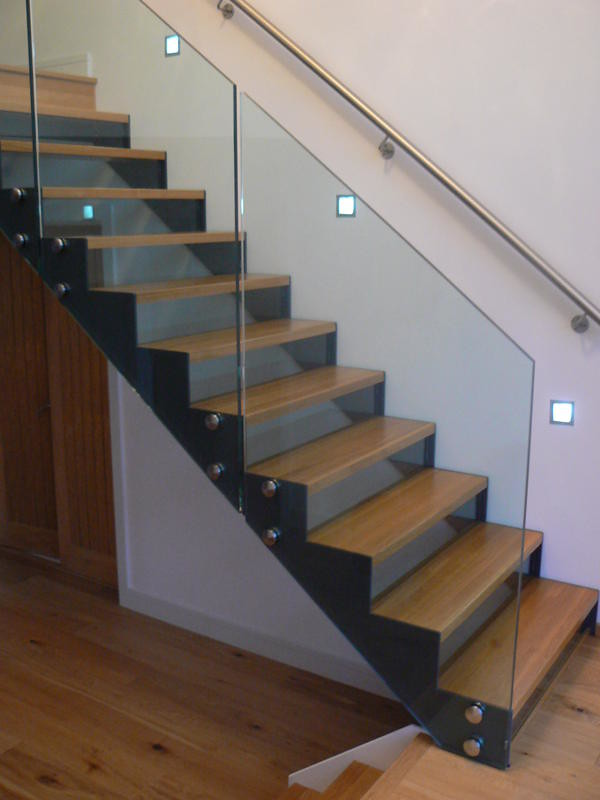 Open Riser Staircase With Oak Treads And Glass Balustrade