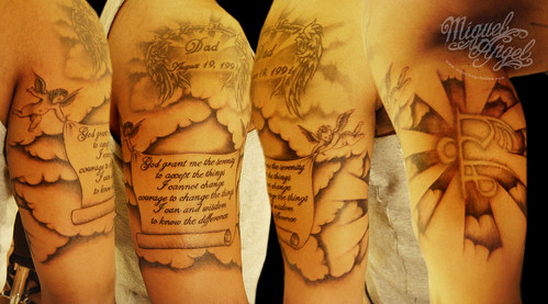 religious design tattoo with clouds and cherubs flickr photo sharing. Black Bedroom Furniture Sets. Home Design Ideas