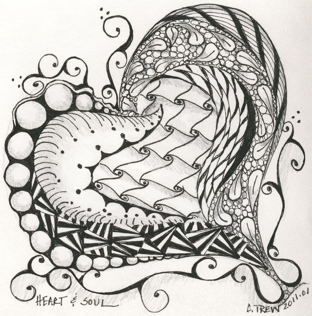 heart zentangle coloring pages - photo#14