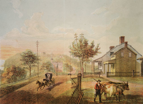 "Dyckman Farmhouse Museum c 1866 ""View of Kingsbridge Road…"