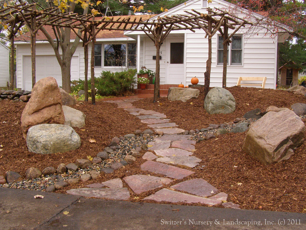 Low maintenance front yard chilton stone walk field for Landscaping rocks you can walk on