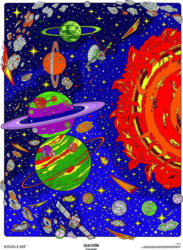 Doodle Art Solar System Coloring Page Poster This Spacey