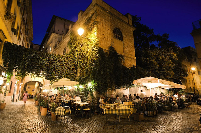 Rome cafe at night