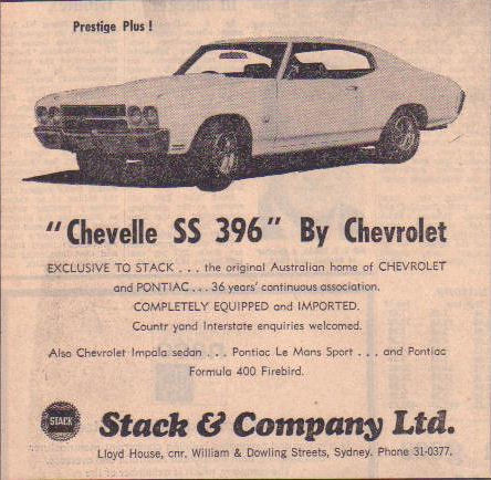 1971 Chevelle SS 396 RHD Ad - Australia | Covers the Rare ...