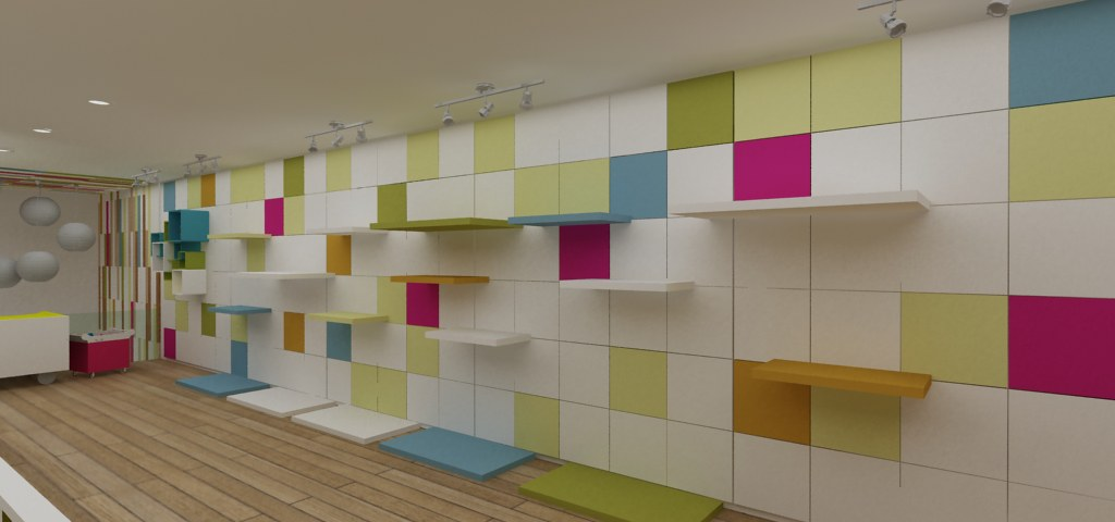 Exhibicion a muro para tienda infantil dise o de tienda - Diseno ropa infantil ...