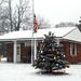 Fostoria Post Office with the snow falling