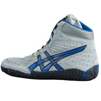 orange and grey asics rulon wrestling shoes