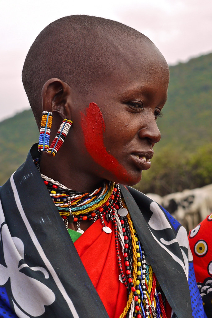 Maasai Woman With Stretched Earlobes Afrika Africa