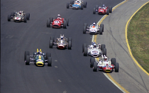 The 1965 indy 500 line up a lot of action in this image for Indianapolis motor speedway com