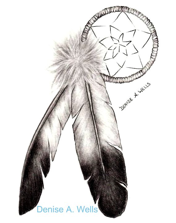 eagle feathers  dreamcatcher by denise a  wells