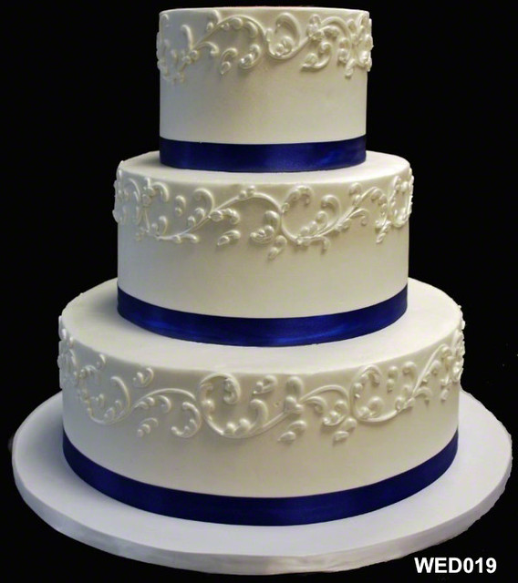 Images Of Round Wedding Cake : WED019 3 tier round wedding cake with scroll and satin ...