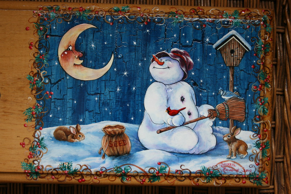 Snowman Starry Night Hand Painted Clock Close Up View Of