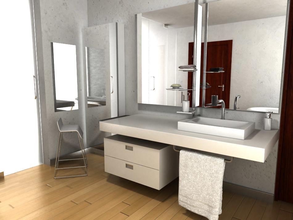 Dise o de mueble para lavabo empotrado espejo y accesorio for Griferias y accesorios para banos