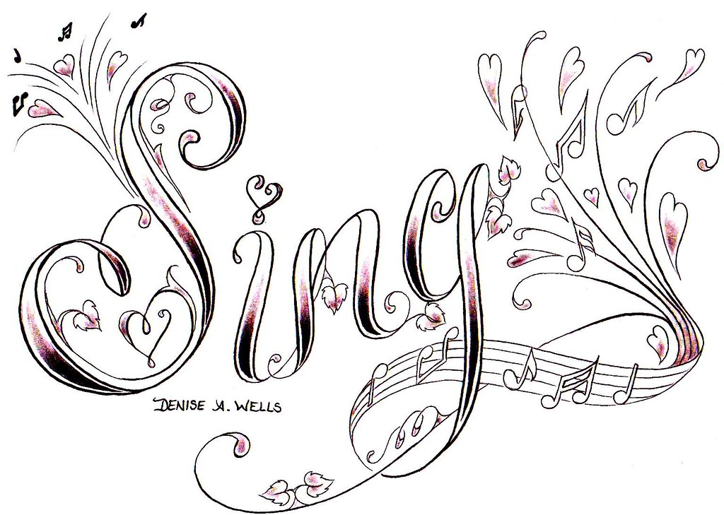 sing tattoo design by denise a wells 39 sing 39 tattoo desi flickr. Black Bedroom Furniture Sets. Home Design Ideas