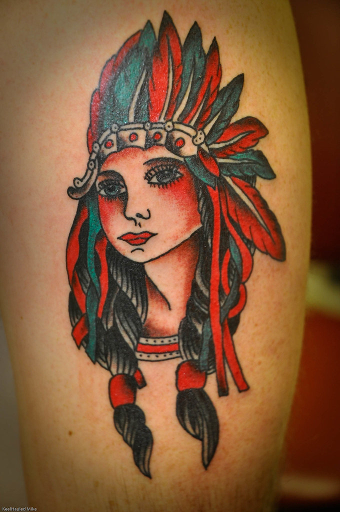 Indian girl head tattoo by keelhauled mike black anchor t for Girl head tattoo