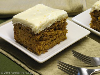 Pumpkin Spice Cake with Orange Cream Cheese Frosting | by Farmgirl Susan