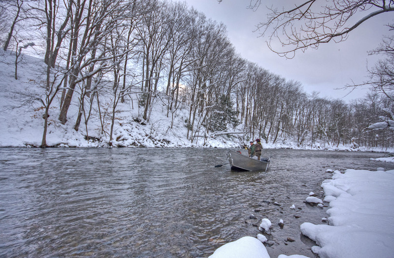 Winter fishing the salmon river fishing in the driftboat for Salmon river ny fishing map