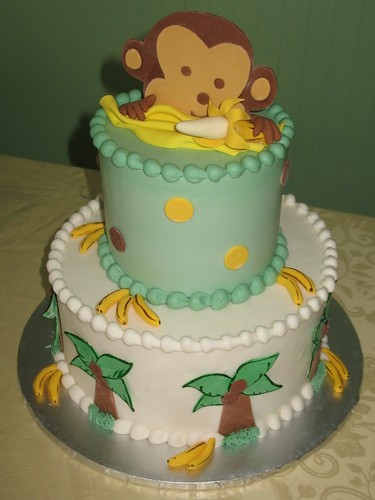 baby shower monkey cake by beautiful cakes
