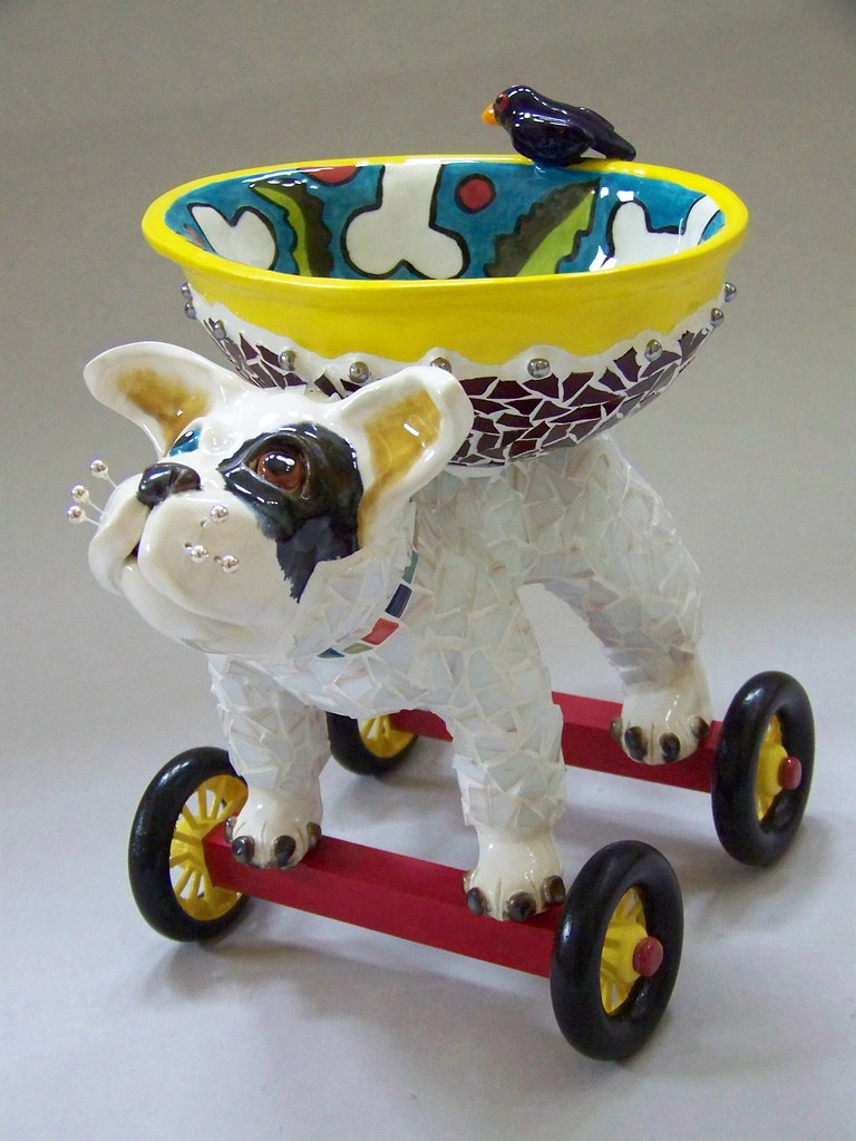 Riley Dog Sculpture With Bowl Riley Is A Ceramic Dog And