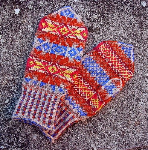 Mittens finished pair | by Pam Beeching
