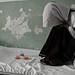 Female opium addict hides her face - Mazar-i-Sharif detox centre
